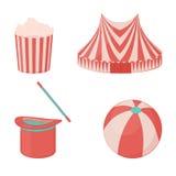 Το εικονίδιο τσίρκων έθεσε: περίπτερο, μαγικό καπέλο με τη ράβδο, σφαίρα και popcorn για το σχέδιό σας στο ύφος κινούμενων σχεδίω Στοκ Εικόνα