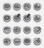 Το εικονίδιο Ramen (ιαπωνικό νουντλς), το σύνολο 1 ελεύθερη απεικόνιση δικαιώματος