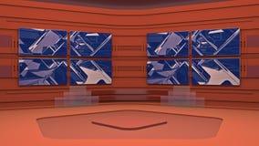 Το εικονικό στούντιο ραδιοφωνικής αναμετάδοσης με περιτύλιξης την αφηρημένη περιοχή οθόνης μήκους σε πόδηα τηλεοπτική και πράσινη διανυσματική απεικόνιση