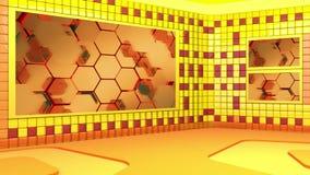 Το εικονικό στούντιο ραδιοφωνικής αναμετάδοσης με περιτύλιξης την αφηρημένη περιοχή οθόνης μήκους σε πόδηα τηλεοπτική και πράσινη απεικόνιση αποθεμάτων