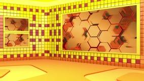 Το εικονικό στούντιο ραδιοφωνικής αναμετάδοσης με περιτύλιξης την αφηρημένη περιοχή οθόνης μήκους σε πόδηα τηλεοπτική και πράσινη ελεύθερη απεικόνιση δικαιώματος