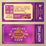 Το εισιτήριο για την αποδοχή στο τσίρκο παρουσιάζει Στοκ Εικόνα