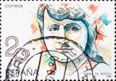 Το εκλεκτής ποιότητας γραμματόσημο που τυπώνεται στην Ισπανία παρουσιάζει Μαρία de Maeztu στοκ εικόνα με δικαίωμα ελεύθερης χρήσης