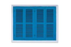 Το εκλεκτής ποιότητας μπλε παράθυρο που απομονώνεται στο άσπρο υπόβαθρο, παλαιό Louver κερδίζει στοκ εικόνες με δικαίωμα ελεύθερης χρήσης