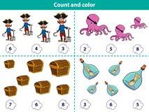 Το εκπαιδευτικό παιχνίδι για την προσχολική αρίθμηση παιδιών και χρωματίζει τον κύκλο με τη σωστή απάντηση Σύνολο χαρακτήρων πειρ διανυσματική απεικόνιση