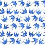 το εκλεκτής ποιότητας σχέδιο με λίγα καταπίνει, άνευ ραφής σχέδιο με το πουλί Στοκ Εικόνα