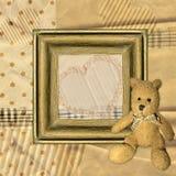 Το εκλεκτής ποιότητας υπόβαθρο με το πλαίσιο και Teddy αντέχουν Στοκ φωτογραφία με δικαίωμα ελεύθερης χρήσης
