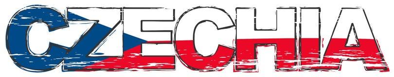 Το εναλλακτικό όνομα λέξης CZECHIA για τη Δημοκρατία της Τσεχίας με τη εθνική σημαία κάτω από το, στενοχωρημένος grunge κοιτάζει ελεύθερη απεικόνιση δικαιώματος