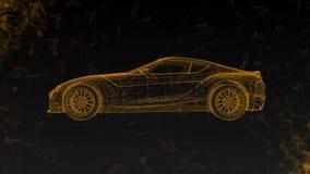 Το εννοιολογικό αθλητικό αυτοκίνητο υπό μορφή διαφανούς ολογράμματος που περιστρέφεται στο διάστημα με το πέταγμα γύρω από τα πολ απεικόνιση αποθεμάτων