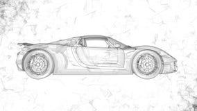 Το εννοιολογικό αθλητικό αυτοκίνητο υπό μορφή διαφανούς ολογράμματος που περιστρέφεται στο διάστημα με το πέταγμα γύρω από τα πολ ελεύθερη απεικόνιση δικαιώματος