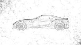 Το εννοιολογικό αθλητικό αυτοκίνητο υπό μορφή διαφανούς ολογράμματος που περιστρέφεται στο διάστημα με το πέταγμα γύρω από τα πολ διανυσματική απεικόνιση