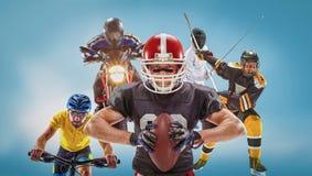 Το εννοιολογικό πολυ αθλητικό κολάζ με το αμερικανικό ποδόσφαιρο, χόκεϋ, cyclotourism, περίφραξη, αθλητισμός μηχανών Στοκ Φωτογραφία