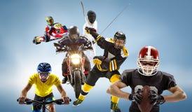 Το εννοιολογικό πολυ αθλητικό κολάζ με το αμερικανικό ποδόσφαιρο, χόκεϋ, cyclotourism, περίφραξη, αθλητισμός μηχανών Στοκ Φωτογραφίες