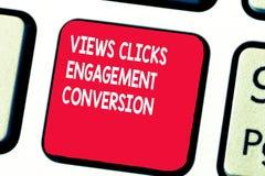Το εννοιολογικό χέρι που γράφει παρουσιάζοντας απόψεις χτυπά τη μετατροπή δέσμευσης Κοινωνική πλατφόρμα μέσων κειμένων επιχειρησι στοκ εικόνα