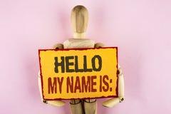 Το εννοιολογικό χέρι που γράφει παρουσιάζοντας γειά σου όνομά μου είναι Συνεδρίαση των κειμένων επιχειρησιακών φωτογραφιών κάποιο Στοκ Εικόνα