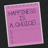 Το εννοιολογικό χέρι που γράφει παρουσιάζοντας ευτυχία είναι μια επιλογή Επιχειρησιακή φωτογραφία που επιδεικνύει ευτυχή όλη την  απεικόνιση αποθεμάτων