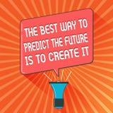 Το εννοιολογικό χέρι που γράφει παρουσιάζοντας καλύτερο τρόπο να προβλεφθεί το μέλλον πρόκειται να το δημιουργήσει Σχέδιο επίδειξ απεικόνιση αποθεμάτων