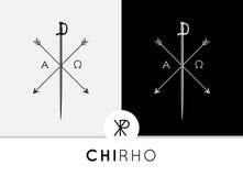 Το εννοιολογικό αφηρημένο σχέδιο συμβόλων chi-Rho με το ξίφος & τα βέλη συνδύασαν με τα άλφα & ωμέγα σημάδια Στοκ Εικόνες