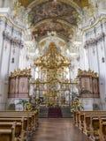 Το εξαιρετικά όμορφο εσωτερικό της μπαρόκ εκκλησίας του ST Paulinus στην Τρίερ - η παλαιότερη γερμανική πόλη στοκ φωτογραφία