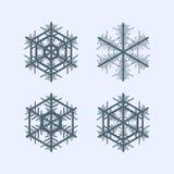 το εορταστικό χέρι συλλογής Χριστουγέννων χρωμάτισε καθορισμένα snowflakes Στοκ φωτογραφία με δικαίωμα ελεύθερης χρήσης