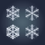 το εορταστικό χέρι συλλογής Χριστουγέννων χρωμάτισε καθορισμένα snowflakes Στοκ Φωτογραφίες