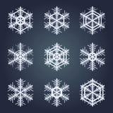 το εορταστικό χέρι συλλογής Χριστουγέννων χρωμάτισε καθορισμένα snowflakes Στοκ εικόνες με δικαίωμα ελεύθερης χρήσης