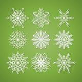 το εορταστικό χέρι συλλογής Χριστουγέννων χρωμάτισε καθορισμένα snowflakes Στοκ Φωτογραφία