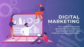 Το επίπεδο έμβλημα γράφεται τα ψηφιακά κινούμενα σχέδια μάρκετινγκ ελεύθερη απεικόνιση δικαιώματος