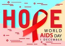 Το επίπεδο σύγχρονο ελάχιστο κόκκινο εικονίδιο ταινιών συνειδητοποίησης την 1η Δεκεμβρίου Παγκόσμιας Ημέρας κατά του AIDS ελπίδας ελεύθερη απεικόνιση δικαιώματος