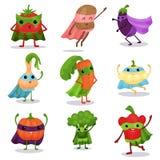 Το επίπεδο σύνολο χαρακτήρων κινούμενων σχεδίων λαχανικών superhero στα ακρωτήρια και μασκών σε διαφορετικό θέτει Στοκ Εικόνες