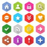 Το επίπεδο βασικό σύνολο εικονιδίων στρογγύλεψε το hexagon κουμπί Ιστού Στοκ φωτογραφίες με δικαίωμα ελεύθερης χρήσης