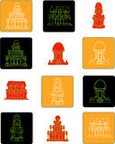 Το επίπεδο εικονίδιο της Ινδίας έθεσε το χρώμα 3 απεικόνιση αποθεμάτων