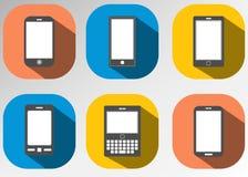 Το επίπεδο εικονίδιο mobiles έθεσε απεικόνιση αποθεμάτων