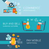 Το επίπεδο κινητό σε απευθείας σύνδεση ηλεκτρονικό εμπόριο ύφους αγοράζει τη infographic έννοια αμοιβής Στοκ Εικόνες