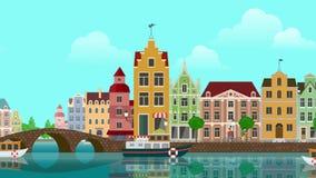 Το επίπεδο προάστιο Άμστερνταμ Ολλανδία κωμοπόλεων πόλεων κτηρίων κινούμενων σχεδίων πολύχρωμο ζωηρόχρωμο ιστορικό πανοραμική περ ελεύθερη απεικόνιση δικαιώματος