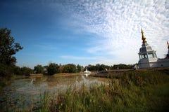 Το επίπεδο πυροβόλησε τον ταϊλανδικό ναό στην Ταϊλάνδη Στοκ Εικόνες