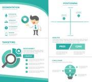 Το επίπεδο σχέδιο προτύπων παρουσίασης εικονιδίων στοιχείων Infographic επιχειρηματιών μάρκετινγκ STP έθεσε για τη διαφήμιση του  Στοκ Εικόνες