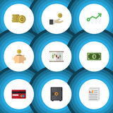 Το επίπεδο σύνολο χρηματοδότησης εικονιδίων κιβωτίου χρημάτων, χέρι με το νόμισμα, τεκμηριώνει τα διανυσματικά αντικείμενα Επίσης Στοκ Εικόνες
