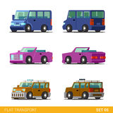 Το επίπεδο τρισδιάστατο isometric εικονίδιο μεταφορών πόλεων έθεσε: οικογενειακά αυτοκίνητα, cabrio Στοκ Εικόνα