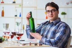 Το επαγγελματικό πιό sommelier δοκιμάζοντας κόκκινο κρασί Στοκ εικόνα με δικαίωμα ελεύθερης χρήσης