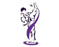 Το επαγγελματικό ζέσταμα αθλητών θέτει τον αθλητή Taekwondo στο λογότυπο δράσης Στοκ Εικόνες