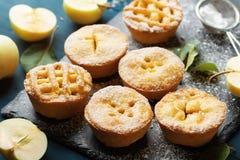 Το επιδόρπιο ζύμης από τις μίνι πίτες μήλων διακόσμησε τη σκόνη ζάχαρης στο μαύρο πίνακα πλακών στοκ εικόνες