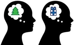 Το επικεφαλής άτομο με τη φυσαλίδα σκέφτεται για τα Χριστούγεννα Στοκ φωτογραφία με δικαίωμα ελεύθερης χρήσης