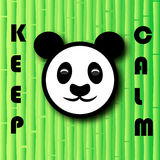 Το επικεφαλής panda αφορά το υπόβαθρο μπαμπού με τις λέξεις επίσης corel σύρετε το διάνυσμα απεικόνισης Στοκ Εικόνες