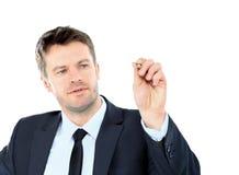 Το επιχειρησιακό άτομο επισύρει την προσοχή με το δείκτη στο κενό διάστημα αντιγράφων που απομονώνεται στο wh Στοκ Φωτογραφία