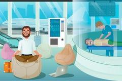 Το επιχειρησιακό άτομο χαλαρώνει στο δωμάτιο μασάζ χαλαρώστε τη ζώνη απεικόνιση αποθεμάτων
