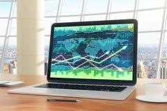 Το επιχειρησιακό διάγραμμα στην οθόνη lap-top με τη μάνδρα, το ημερολόγιο και ο καφές κλέβουν το ο Στοκ Φωτογραφία