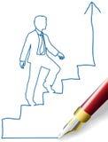 Το επιχειρησιακό πρόσωπο αναρριχείται επάνω στα βήματα επιτυχίας απεικόνιση αποθεμάτων