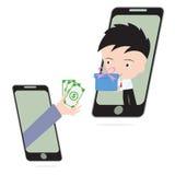 Το επιχειρησιακό χέρι, δίνει τα χρήματα και το δώρο ή τα αγαθά παράδοσης επιχειρηματιών μέσω κινητού Στοκ Εικόνες