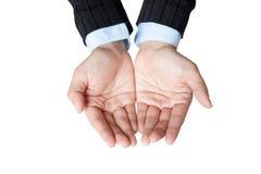 Το επιχειρησιακό χέρι για εμφανίζει κάτι στο χέρι της στοκ εικόνα
